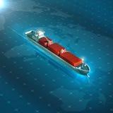 Lastbehållareskepp på blå digital futuristisk bakgrund för hög tech kvalitet 3d framför metaforen för global godsspåring Arkivbild