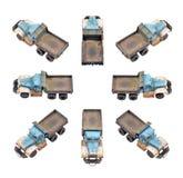 lastbil för förrådsplatsgrävskopahav Arkivbild