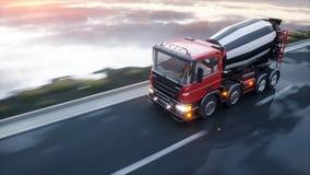 Lastbil för konkret blandare på huvudvägen Mycket snabb körning Byggande- och transportbegrepp framförande 3d vektor illustrationer