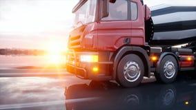 Lastbil för konkret blandare på huvudvägen Mycket snabb körning Byggande- och transportbegrepp framförande 3d royaltyfri illustrationer