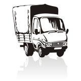 lastbil för lasttecknad filmleverans Arkivfoton