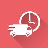 Lastbil för leverans 24h med klockavektorillustrationen 24 timmar fastar hemsändningsändningssymbolen Royaltyfri Fotografi