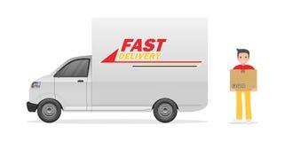 Lastbil för tjänste- leverans, leveransman, lagerleverans, vektor royaltyfria foton