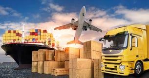 Lastbil, flygplan och skepp för transporten av gods royaltyfri fotografi
