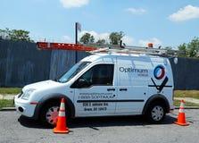 Lastbil för optimalkabelservice i Brooklyn Arkivbild