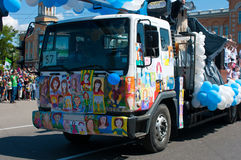 Lastbil klistrade barns teckningar Royaltyfria Foton