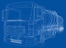 Lastbil med behållarebegrepp vektor Royaltyfria Bilder