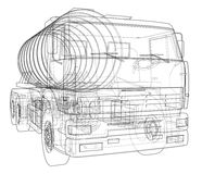 Lastbil med behållarebegrepp vektor Arkivbilder