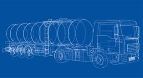 Lastbil med behållarebegrepp vektor Royaltyfria Foton