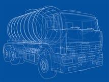 Lastbil med behållarebegrepp vektor Royaltyfri Bild