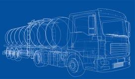 Lastbil med behållarebegrepp vektor Royaltyfri Foto