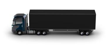 Lastbil med behållaren på vit Royaltyfria Foton