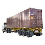 Lastbil med behållaren på vit bakgrund Fotografering för Bildbyråer