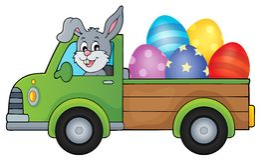 Lastbil med bild 1 för tema för påskägg Arkivfoto