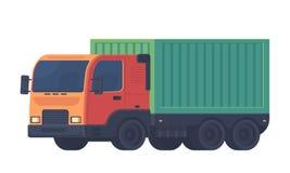 Lastbil med ensläp för leveransen av gods Logistisk service vektor illustrationer