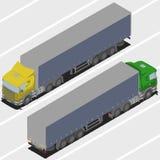 Lastbil med släpet för isometrisk värld Royaltyfria Bilder