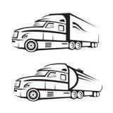 Lastbil och behållarelastbil Royaltyfri Bild