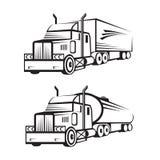 Lastbil och behållarelastbil Fotografering för Bildbyråer