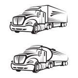 Lastbil och behållarelastbil Royaltyfria Bilder