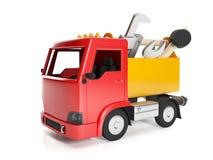 Lastbil och en ask av hjälpmedel, Arkivfoto