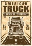 Lastbil på affischen för tappning för vägvektoradvertizing Vektor Illustrationer