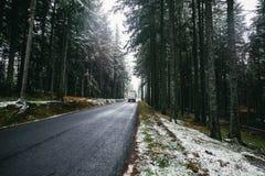 Lastbil på en väg i entäckt frostig dag för skogvinter Träd i rimfrosten Ardeche, Frankrike royaltyfri bild