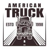Lastbil på illustration för vägvektormonokrom Royaltyfri Illustrationer