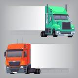Lastbilar med långsidan Arkivbild