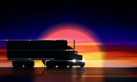 Lastbilflyttningar på huvudvägen på solnedgången Halv lastbil för klassisk stor rigg med billyktor och den torra skåpbilen på nat stock illustrationer