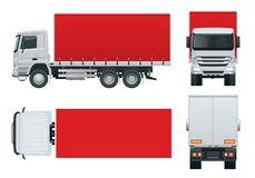 Lastbilleveransen, lastbilmodell isolerade mallen på vit bakgrund Sida framdel, baksida, bästa sikt royaltyfri illustrationer