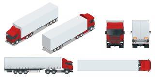 Lastbilsläp med behållaren Bil för vagnen av gods Last som levererar medelmallvektorn som isoleras på vit stock illustrationer