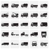 Lastbilsymboler ställde in på fyrkantbakgrund för diagram och rengöringsdukdesign Enkelt vektortecken Internetbegreppssymbol för stock illustrationer