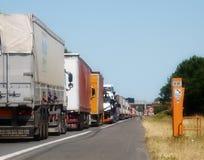Lastbiltrafikblodstockning Frankrike Royaltyfria Bilder