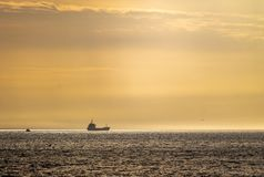 Lastfartyg i horisonten royaltyfria foton