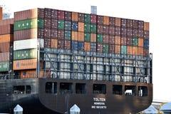 Lastfartyg i Savannahhamn royaltyfri bild