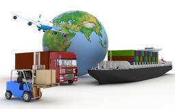 Lastfartyg, lastbil, nivå och laddare med askar royaltyfri illustrationer