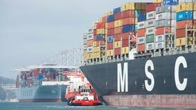 Lastfartyg MSC ARIANE som skriver in porten av Oakland Fotografering för Bildbyråer