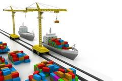 Lastfartyg på porten Royaltyfria Bilder