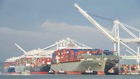 Lastfartyg som laddar på porten av Oakland Royaltyfri Bild
