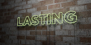 LASTING - Glowing Neon Sign on stonework wall - 3D rendered royalty free stock illustration Stock Photography