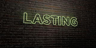 LASTING -Realistic Neon Sign on Brick Wall background - 3D rendered royalty free stock image Stock Photography