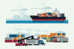 Lastlogistiker åker lastbil och trans.behållareskeppet med wor vektor illustrationer