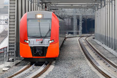 Lastochka commuter train. Moscow Central Circle Line. Stock Photo