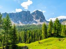 Lastoni de Formin, aka Ponta Lastoi de Formin Гигантский блок горы с зелеными лугом, деревьями и небом лета, доломитами Стоковая Фотография RF