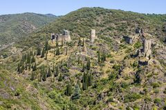 Lastours, France. The Chateaux de Lastours in Occitan Lastors, four so-called Cathar castles on a rocky spur above the French village of Lastours stock photo