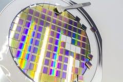 Lastra di silicio con i microchip, riparati in un supporto con una struttura d'acciaio su un fondo grigio dopo il processo di tag immagine stock