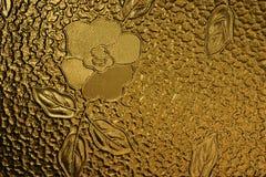 Lastra di vetro decorata con il fiore Fotografia Stock Libera da Diritti