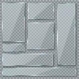 Lastra di vetro Insieme lucido acrilico di vettore dei segni di struttura di effetto della finestra dei chiari piatti trasparenti royalty illustrazione gratis