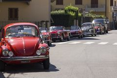 Row of vintage cars parked on the street in Lastra a Signa Royalty Free Stock Images