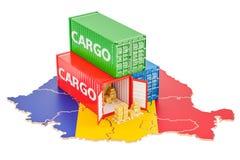 Lastsändnings och leverans från det Rumänien begreppet, tolkning 3D stock illustrationer